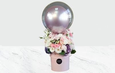 باکس گل حباب صورتی