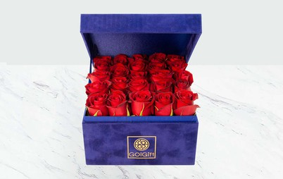 خرید آنلاین باکس آبی گل رز