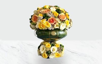 خرید گلدان شیشه ای دو طبقه