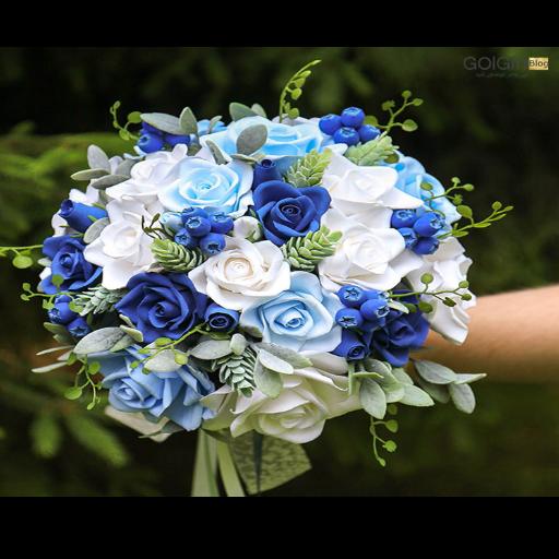 خرید اینترنتی دسته گل رز آبی