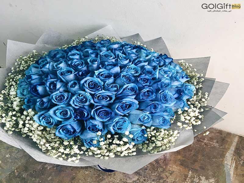 گل گیفت | دسته گل رز آبی