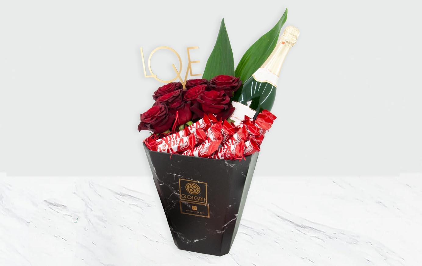 باکس گل شکلاتی طرح سنگ مرمر
