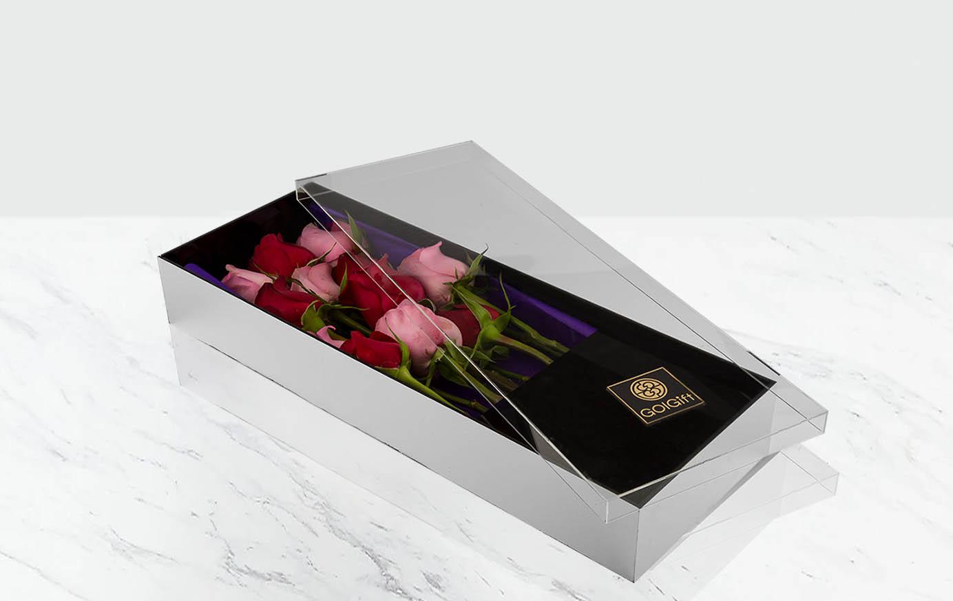 باکس گل رز قرمز و صورتی