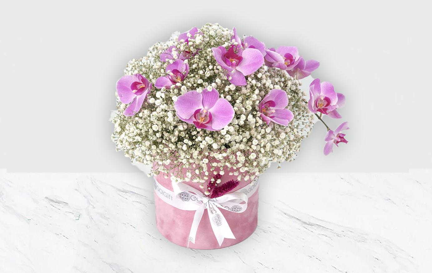 خرید باکس گل صورتی دخترانه
