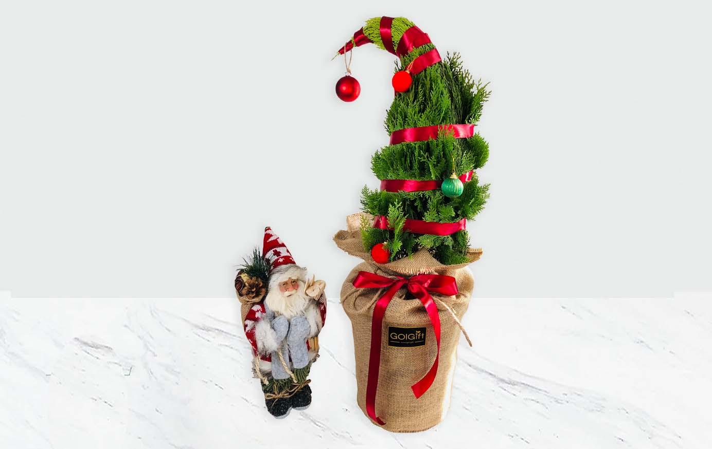 درخت کریسمس به همراه عروسک بابانوئل