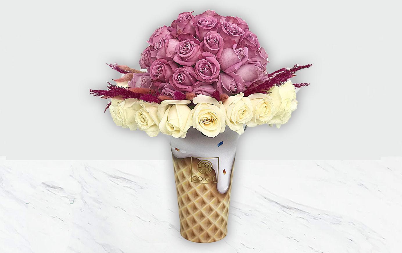 باکس گل بستنی قیفی