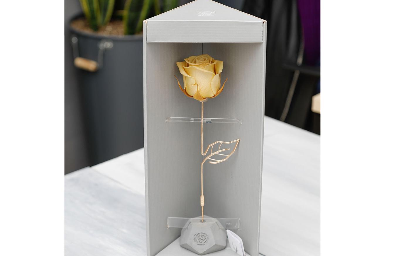 خرید باکس گل رز جاودان زرد