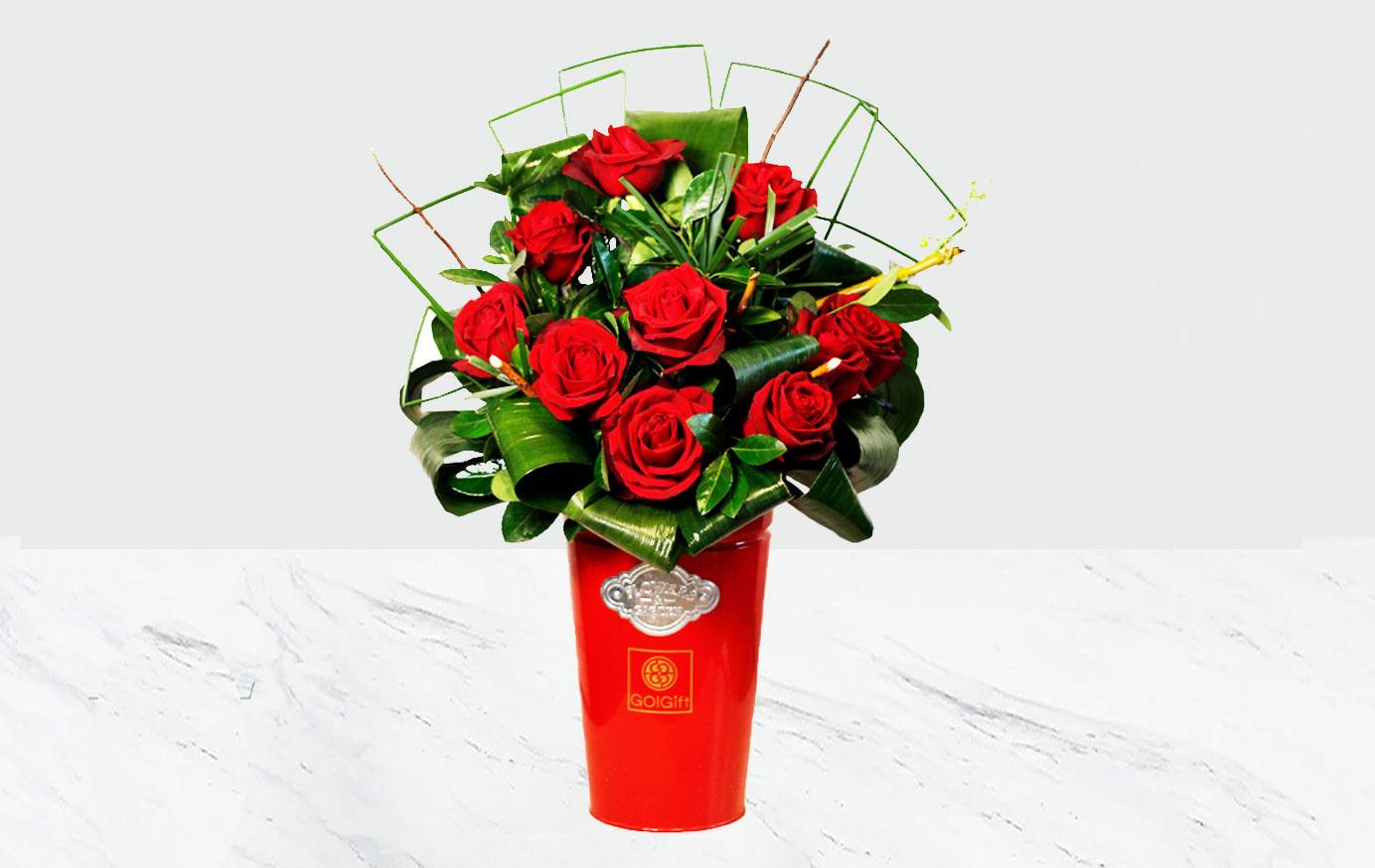 باکس فلزی گل رز قرمز