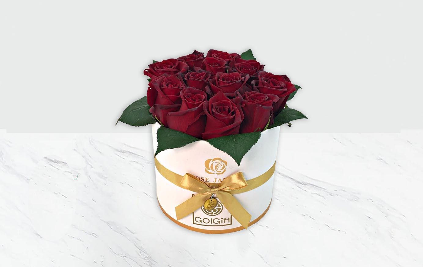 خرید باکس سفید طلایی گل رز