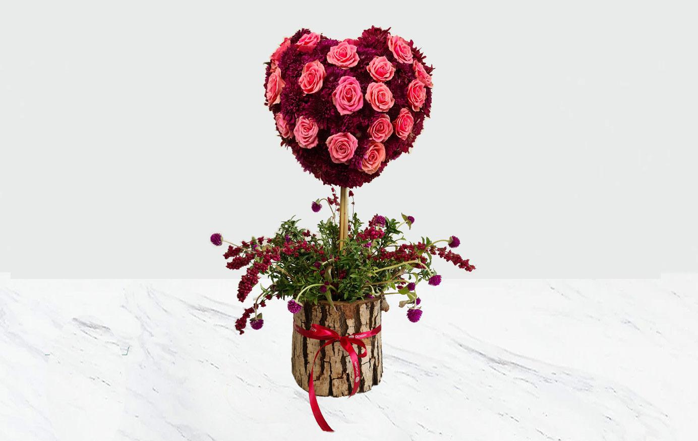 گلدان چوبی گل رز و داوودی