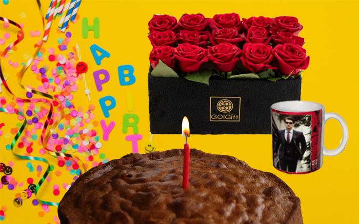 کیک و گل تولد