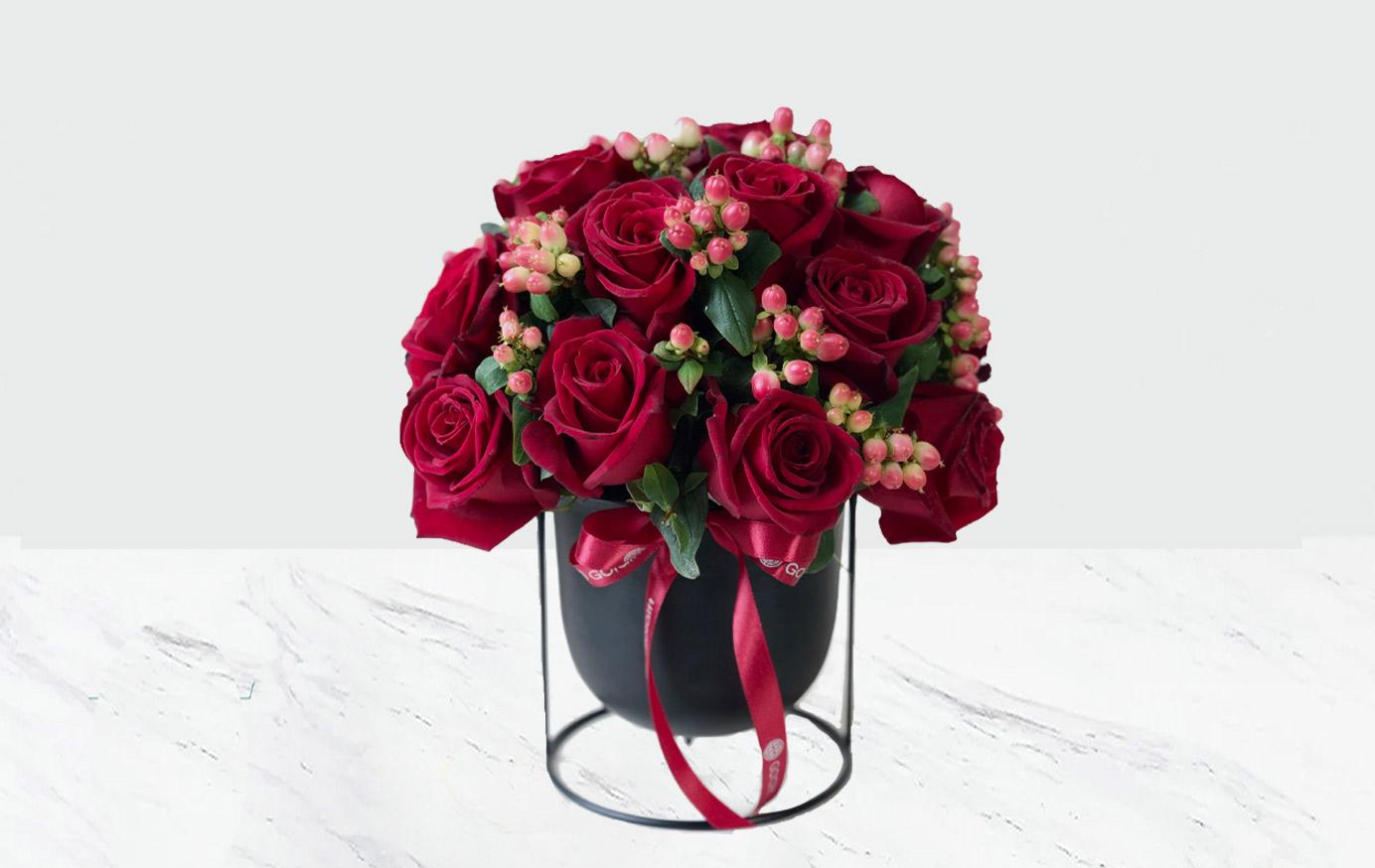 گلدان فلزی گل رز
