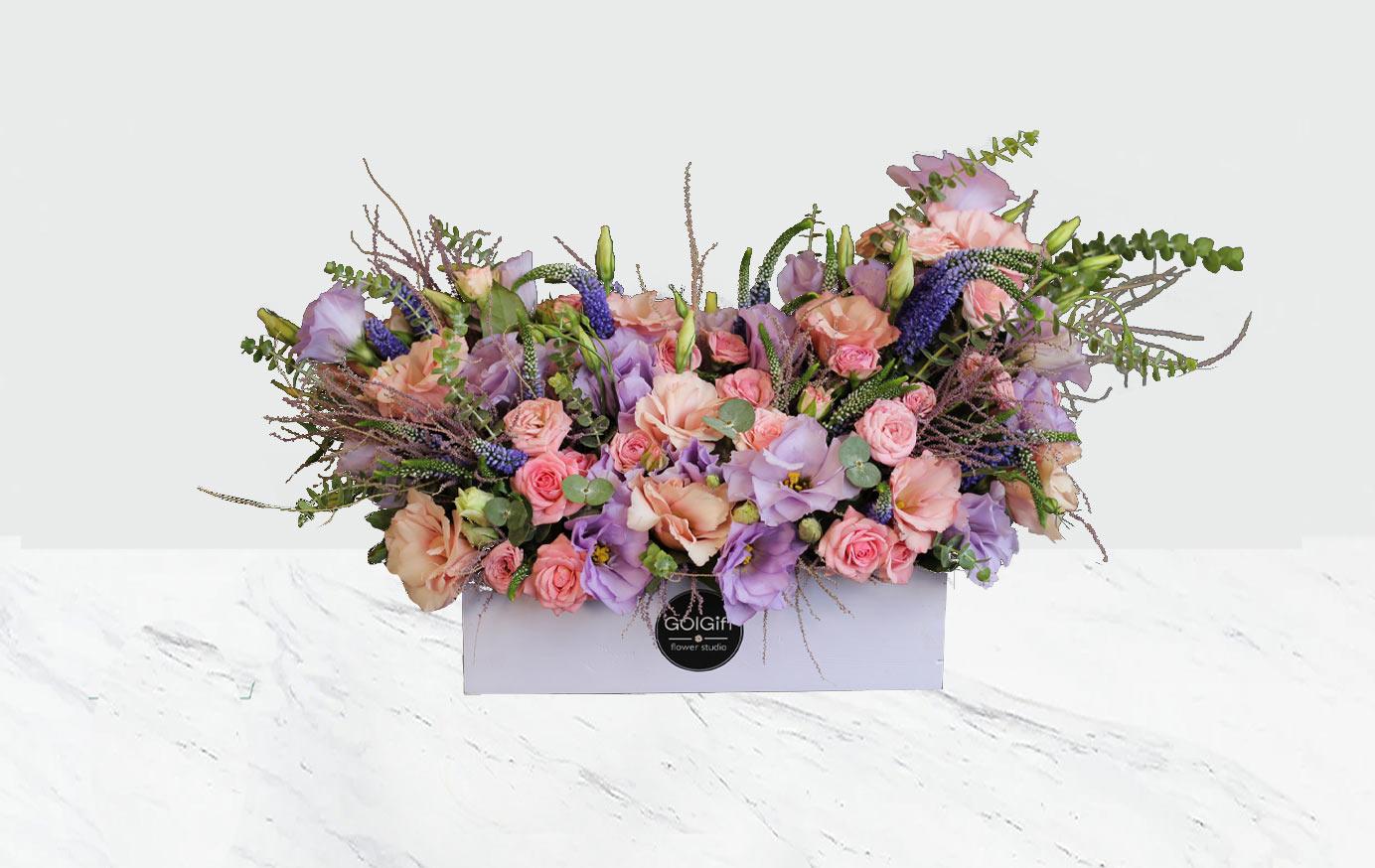 باکس گل پروانه بنفش