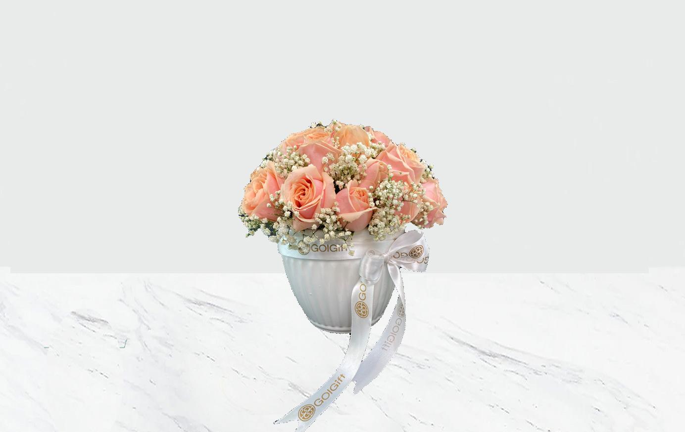 گلدان سرامیکی رز گلبهی