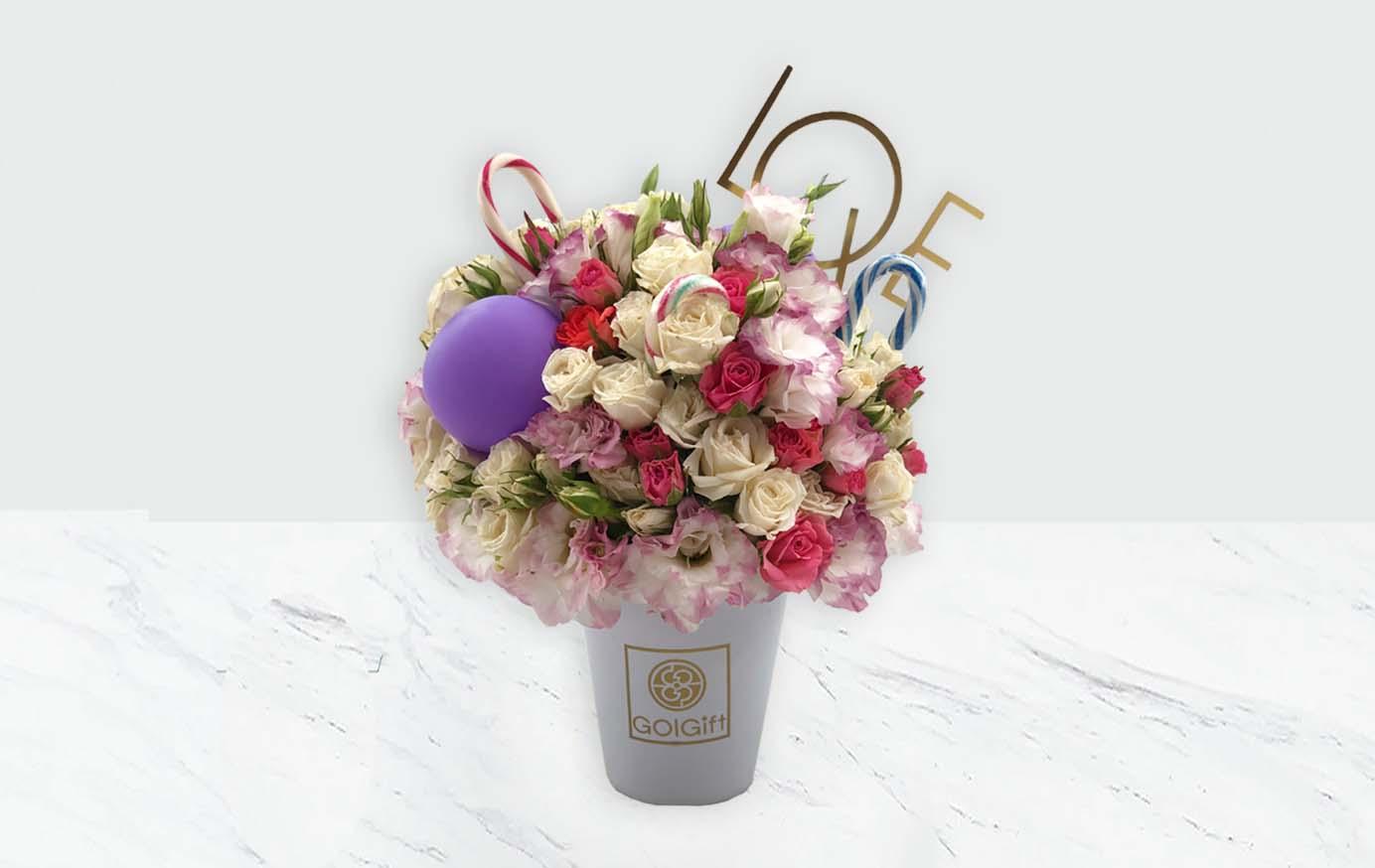 باکس سفید گل رز مینیاتوری عشق