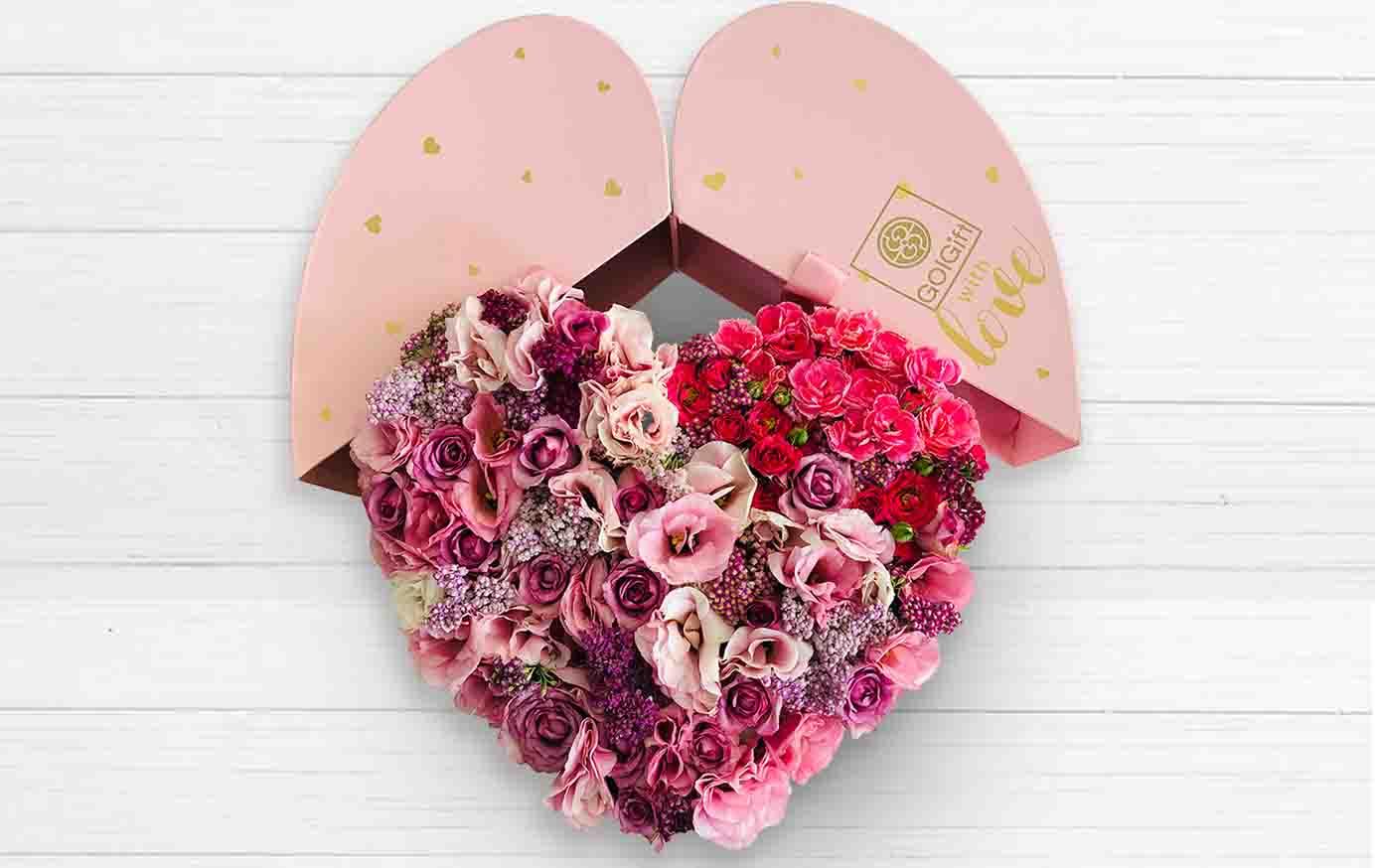 باکس گل قلبی صورتی