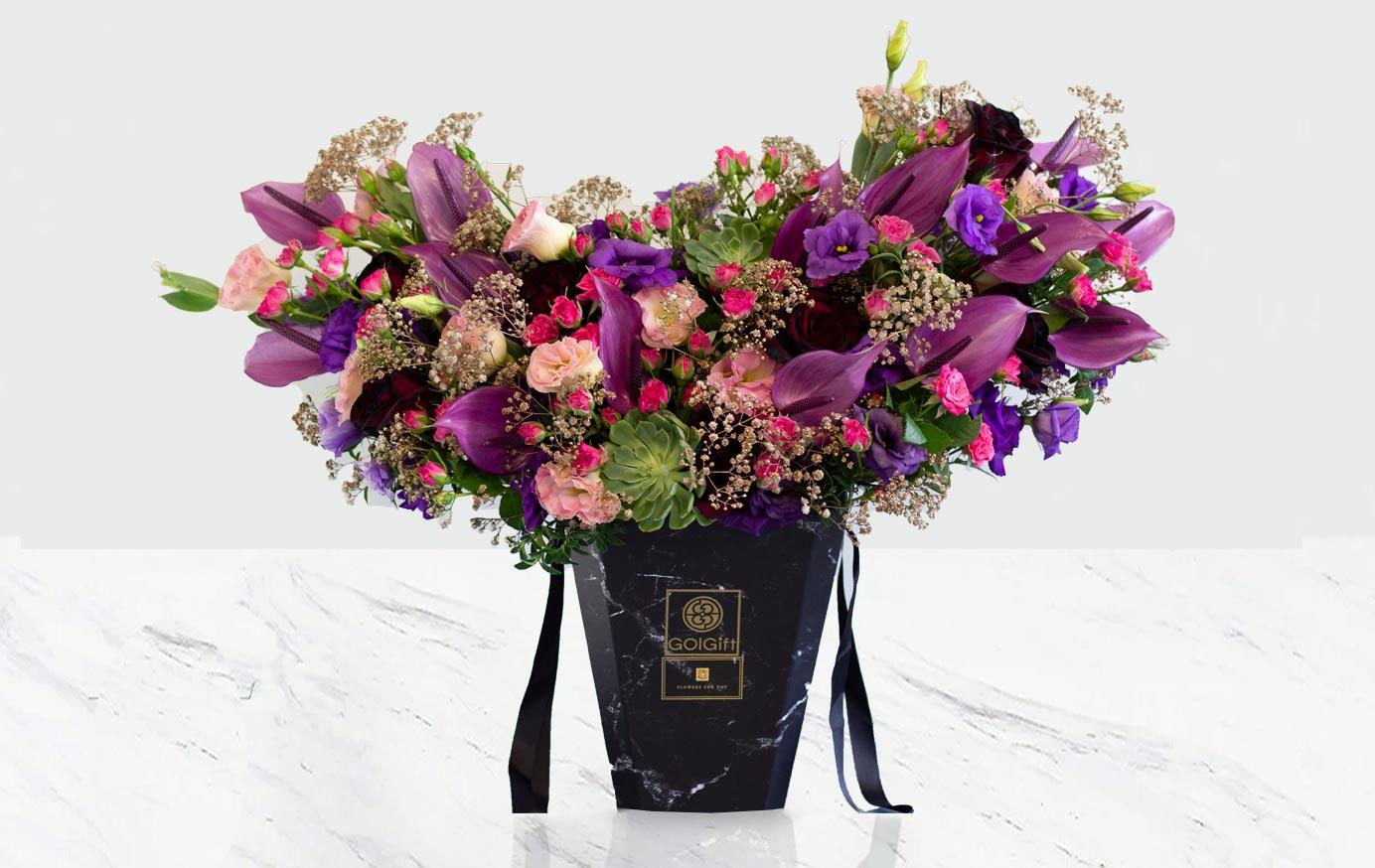 باکس گل آنتوریوم بنفش