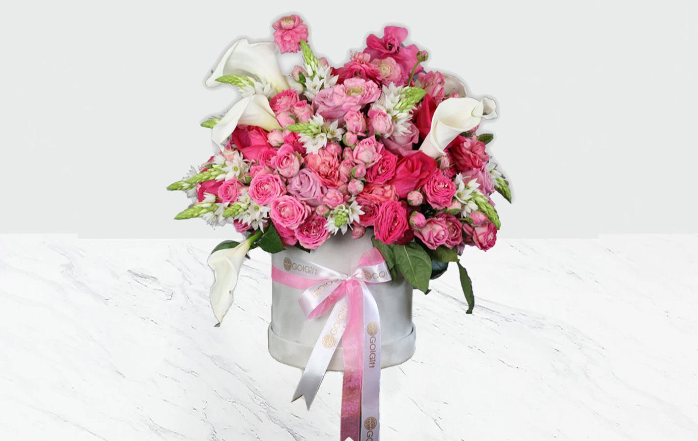 باکس گل بهشت صورتی